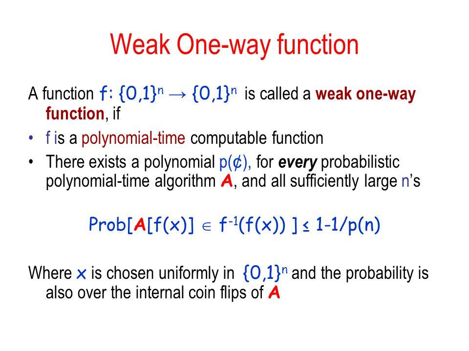 Prob[A[f(x)]  f-1(f(x)) ] ≤ 1-1/p(n)